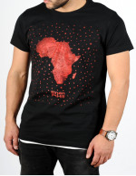 """T-shirt Sinan Hill """"Pépite de sable"""" noir et rouge"""