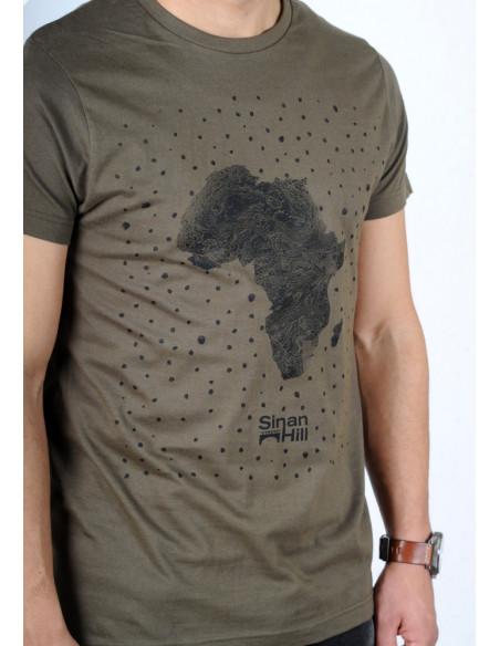 """T-shirt Sinan Hill """"Pépite de sable"""" Kaki et noir"""