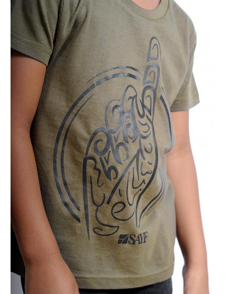 "T-shirt enfant ""Calligraphie"" kaki"