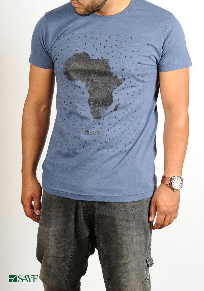 """T-shirt SAYF """"grande Afrique"""" (denim)"""