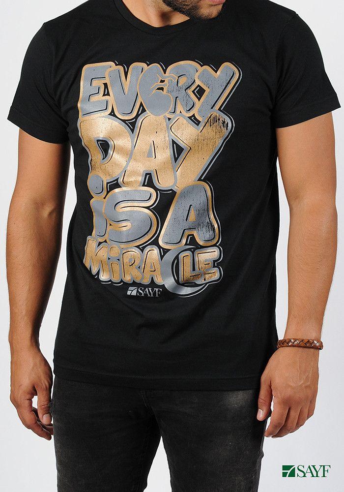"""T-shirt SAYF """"miracle"""" noir et doré"""