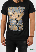 "T-shirt SAYF ""miracle"" black and golden"