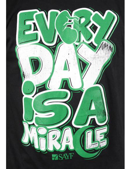"""T-shirt SAYF """"miracle"""" noir et vert"""