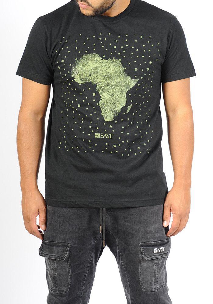 T-shirt SAYF grand Afrique noir- kaki